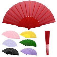 US Multicolors Chinese Folding Fan Hand Held Fabric Dance Fan Decor Pocket Fan