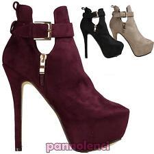 Stivaletti donna scamosciati tacchi alti scarpe nuove plateau fibbia W-41