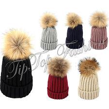 Nuevo Damas Chicas Invierno de punto Bobble Beanie Sombrero de sombrero de piel sintética de visón Pompón