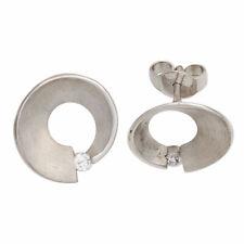 Ohrstecker 2 Diamanten Brillanten 0,07ct. 585 Gold Weißgold matt Ohrringe 42105