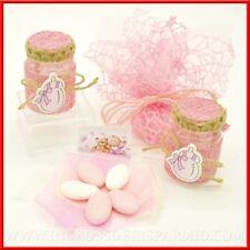 Bomboniere confettate nascita battesimo barattoli porta confetti rosa bimba