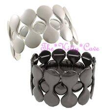 Dramatic Barbells Design Wide Geometric Stretch Elasticated Flex Cuff Bracelet
