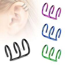 Titanium Anodized Fake Cartilage Triple Closure Ring Ear Cuffs helix Piercing