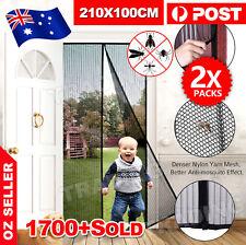 2 x SET Magnetic Door Mesh Black Fly Screen Magic Magna Mosquito Bug Curtain