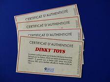 Certificat d'authenticité Dinky Toys