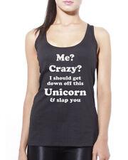 Me? Crazy? I Should Get Down off This Unicorn Vest Fashion Slogan Tank Top