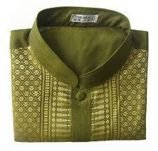 Men's Mandarin Collar Thai Silk Shirt / Short Sleeve Green Size S M L XL 2XL 3XL