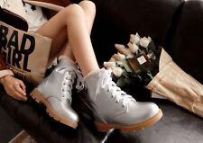 botas zapatos de mujer botas militares plata caldi como piel cómodo 8628