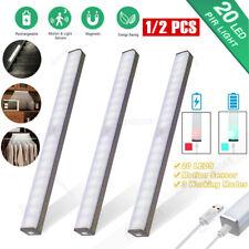 1/2 Pack 14 20 LED Motion Sensor PIR Closet Light USB Rechargeable Cabinet Lamp