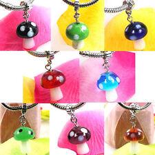 Wholesale Lot 8pcs Mushroom Lampwork Glass European Bracelet Spacer Charm Beads