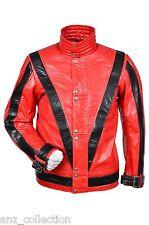 Michael Jackson Thriller Men's Red Music Rockstar Fashion Glaze Leather Jacket