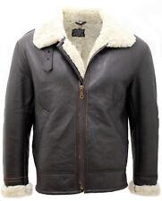 Men's Cream Aviator B3 Real Shearling Sheepskin Leather Bomber Flying Jacket