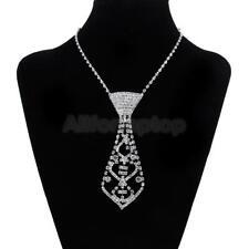 Damen Strass Krawatten Collier Krawattenkette Halskette Geschenk silber