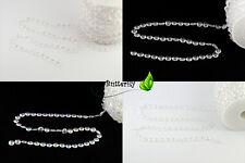 30m Kristall Girlande Diamanten Kunststoff Deko Perlengirlande Vorhang Kristalle