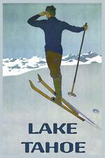 POSTER BORN TO SKI LAKE TAHOE SIERRA NEVADA WINTER SKIING VINTAGE REPRO FREE SH
