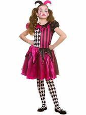 Child FREAKY JESTER Fancy Dress Costume Stylish Halloween Girls Harlequin Quinn