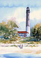 Pensacola Lighthouse, Florida Panhandle. James Mann Watercolor Art Prints