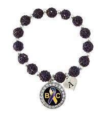 Custom Bladder Cancer Awareness Purple Bling Bracelet Jewelry Choose Initial