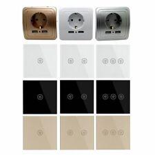 Wall Switch EU Plug Socket Dual USB Crystal Glass 1 2 3 Gang 1 Way Touch Screen