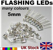 5mm FLASHING LEDs  Packs of 10 & 25  White Red Blue Green blinking Red/Blue - UK