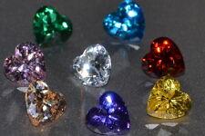 """Beautiful"" 3, 5 or 6mm Heart Shaped Multiple Colors Russian Simulated Diamonds"