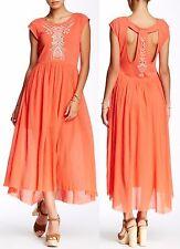 Free People Cactus Flower Toosaloosa Slub Meadow Hi-Lo Midi Dress OB386604 -$148