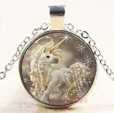 Unicorn Cabochon Silver/Bronze/Black/Gold Glass Chain Pendant Necklace #7709