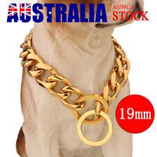 19mm 18-26'' Gold Cuban Curb Link Stainless Steel Dog Chain Pet Collar Choker AU