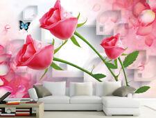 3D Pink Rose Flower 8 Wall Paper Murals Wall Print Wall Wallpaper Mural Au Lemon
