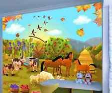 3D Happy Animals Farm 1 Wallpaper Decal Decor Home Kids Nursery Mural  Home