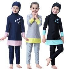 Muslim Kid Girls Full Cover Swimwear Islamic Modest Swimsuit Beachwear Arab Set