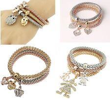 3PCS Fashion Gold Silver Crystal Bangle Charm Cartoon Owl Elastic Bracelet Girl