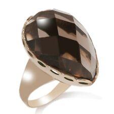 17 Carat Technibond Pear Smoky Quartz Ring 14K Yellow Gold Clad Silver Gemstone