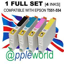 1 Set Completo De Cartuchos (4 Tintas) compatible con t551-554 [ No Epson Original ]