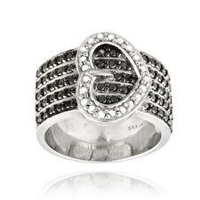 Silver Tone Black Diamond Accent Heart Belt Buckle Ring