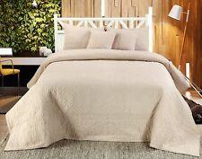 Handmade Cotton Quilted Bedspread Set Quilt Bed Set Chloe Beige