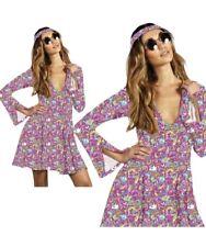Ladies Hippie Costume Flower Power Groovy Skater Dress