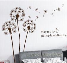 Dandelion Flowers Wall Stickers Art Decal Mural Paper Vinyl Transparent Brown