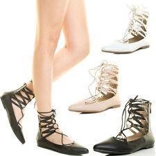 Women Corset Lace Up Strappy CutOut Cuff Ankle Ballet Flat Ballerina Shoe Zip US