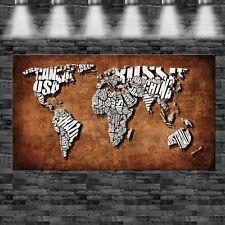 XXL Weltkarte Länder als Text 160cmx90cm auf Leinwand Keilrahmen Loft Bild Leder