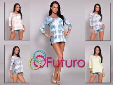 Women's casual haut avec poche T-shirt à manches 3/4 Tunique Taille 8-12 ft974