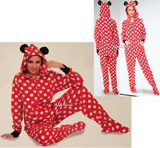 Disney Minnie Mouse ADULT 1PC Costume PJS Fleece Hooded Footed Pajamas Ears