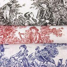 Toile De Jouy BLUE RED BLACK, Curtains, Cushions 100% Cotton Fabric, 150cm wide