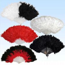 Federfächer Rot, Weiß, Schwarz mit echten Federn Handfächer f Charleston Kostüme