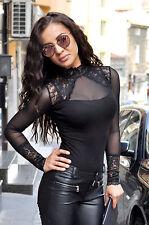 Women Black Bodysuit Long Sleeve Turtleneck Top Blouse Lace Body Suit Lingerie