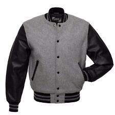 Grey/Black Varsity Letterman Wool Jacket Real Leather Sleeves Grey Rib
