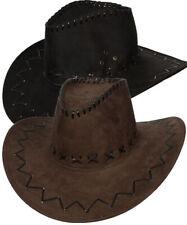 Black Brown Suede Cowboy Hat Adults Wild West Rodeo Fancy Dress Mens Ladies