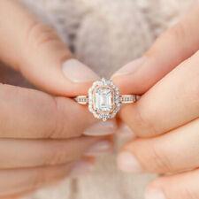Vintage 18K Rose Gold Filled Morganite Ring Wedding Bridal Women Jewelry Sz6-10