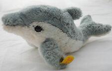 Steiff Cosy Finny Dolphin Woven Fur Plush 10in Fish 25 cm ID button tag 1990s