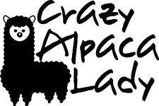 Crazy Alpaca Lady Decal Window Bumper Sticker Car Decor Farm Camelid Love Pet